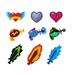 Weapon and Icons Set for Games vector image vector image