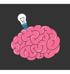 Brain and light bulb vector image
