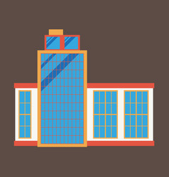 commercial building architecture in flat design vector image