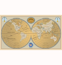 Old globe map of world with discoveries of 1799 vector image vector image