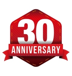 Thirty year anniversary badge with red ribbon vector image vector image
