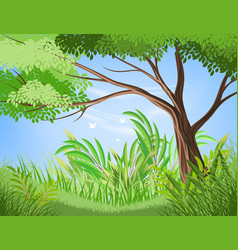 Tree and lush foliage scene vector