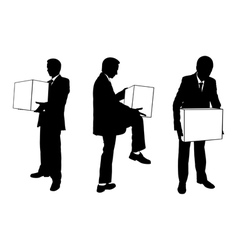 businessmen with boxes vector image