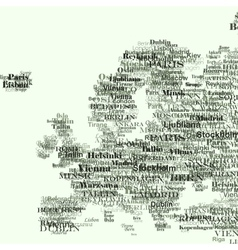 Europe silhouette made from capitals names vector image