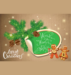 holiday greeting card with xmas gingerbread - man vector image