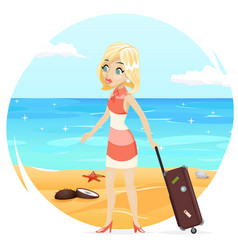sea beach background cute girl suitcase cartoon vector image vector image