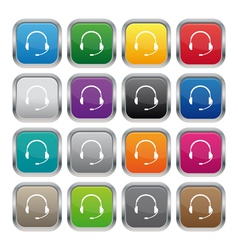 Support metallic square buttons vector image