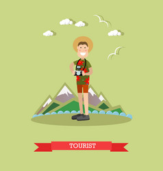 tourist with camera in flat vector image vector image