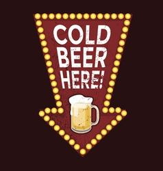 Vintage metal sign Cold Beer Here vector image