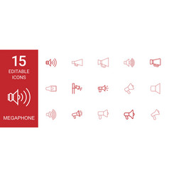 15 megaphone icons vector image