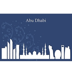 Abu Dhabi city skyline on blue background vector