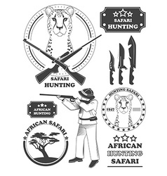 African hunter safari labels leopard emblems and vector