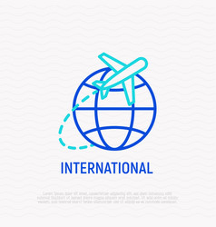Airplane fying around planet thin line icon vector