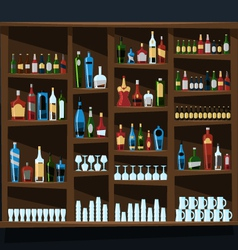 Alcohol shelf background full of bottles vector