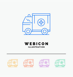 ambulance truck medical help van 5 color line web vector image