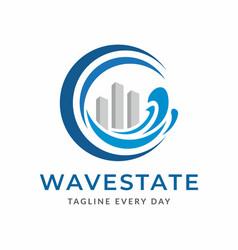 Beach estate logo design template vector