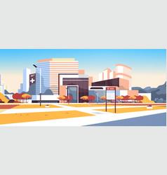 Big hospital building modern medical clinic vector