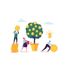business woman watering a money plant characters vector image