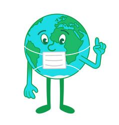 Cartoon character earth in medical mask vector