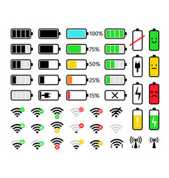 charge and signal mobile icons vector image