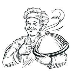 chef with a tray in his hand vector image