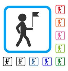 child flag guide framed icon vector image