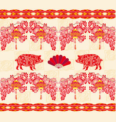 Chinese zodiac year pig - pattern vector
