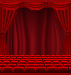 cinema screen with red curtains vector image