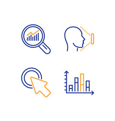 Click here data analysis and face id icons set vector