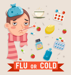 Cold flu disease illness sickness medicine flat vector