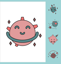 Collection of icons and space satellites vector