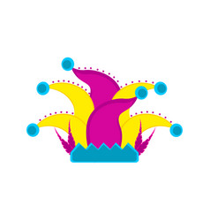 colored harlequin hat icon vector image