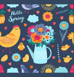colorful spring funny seamless pattern with vector image