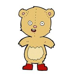 comic cartoon happy teddy bear in boots vector image