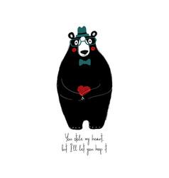 cute bear holding small heart vector image