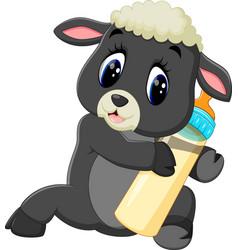 Cute cartoon sheep character vector
