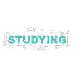 design concept of word studying website banner vector image