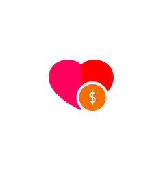 dollar on heart shape vector image