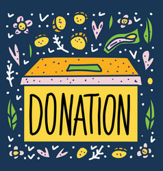 donation box with lettering and decor vector image