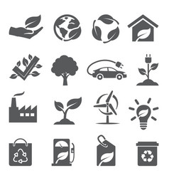 ecology icons set on white background vector image
