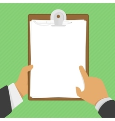 Empty clipboard in hands vector image