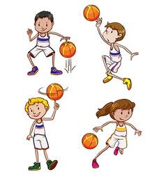 Energetic basketball players vector image