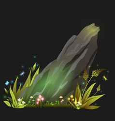fantasy rock stone with grass mushroom vector image
