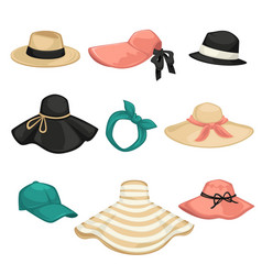 female hat fashion types headwear for women vector image