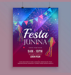 festa junina flyer design with fireworks vector image