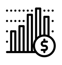 Financial graph chart and coin dollar icon vector