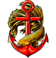 Fish around anchor design vector