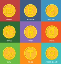 Flat Golden Coins Currency Icons vector