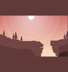 Flat scenery cliff for game background vector