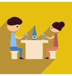 Flat web icon with long shadow husband wife dinner vector
